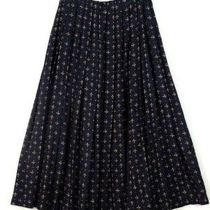 Navy Blue and Gold Gold Fleur de Lis Skirt - M/XL